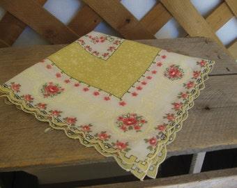 Yellow Floral Ladies Handkerchief, Square Hankie, Yellow Pink Black Hankie, Wedding, Birthday, Mothers Day MyVintageTable