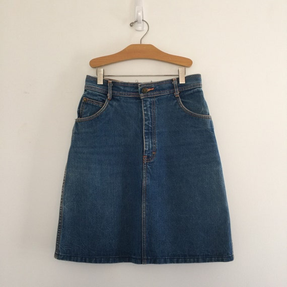 Vintage 80u0026#39;s Faded Denim Skirt / Gitano Jean Skirt S M 27