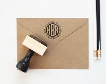 Rubber Address Stamp Circle Monogram Stamp Personalized Return Address Label Custom Address Stamp New Home Wedding Gift Modern Stamp
