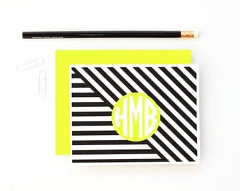 Monogram Stationary Personalized Stationery Custom Bridesmaid Gifts Kids Thank You Notes Black and Yellow Preppy Note Cards Modern Geometric