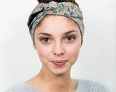 grey and blue wire headband, dolly bow headband, retro headband, twisted wire headband, retro dolly bow, rockabilly bow headband
