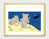 "Elephant Nursery Art w/Mat, Babar the Elephant (Boy Nursery Prints, Girl Nursery Art) Matted Babar Print --- ""Whale Watch"""