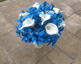 Blue orchid and calla lily bouquet, royal blue silk bouquet with real touch calla lilies, fake flower bouquet, calla lily