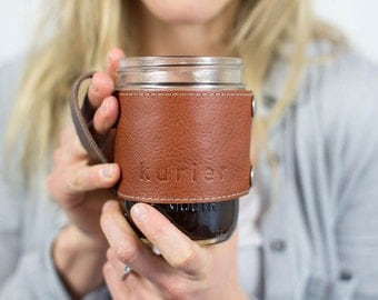 Camp Mug - leather wrapped mason jar coffee mug