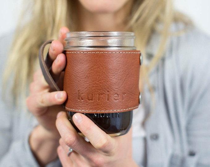 Featured listing image: Camp Mug - leather wrapped mason jar coffee mug
