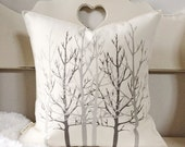 "18"" Aspen Trees Pillow - Winter Throw Pillow - Christmas Season Decor - Aspen Tree Forest Pillow  - Cotton Canvas - Toggle & Loop Closure"