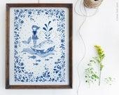 Whale print, Nursery wall décor, Blue wall art - Girl and a Whale - Blue and white prints, Nursery wall art, Ocean wall décor, Bedroom art
