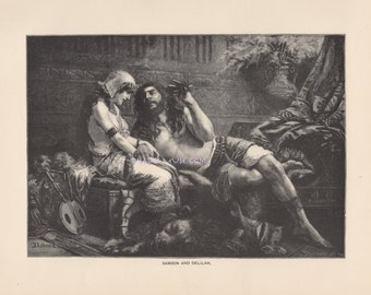 Amorous Lover Tempts & Flirts With Beautiful Woman-1890 Antique Vintage Art PRINT-Samson And Delilah-Lust-Love-HAIR-Lion-Picture-Strength