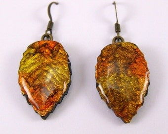 fall leaf earrings polymer clay vivid color