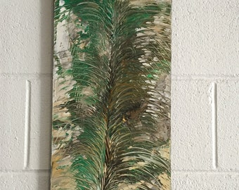 canvas wall art impasto painting palette knife painting abstract artwork large canvas painting large wall art green brown leaf art painting