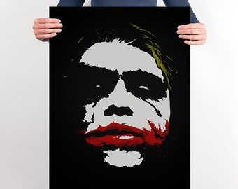 Heath Ledger's Joker Art Print - The Dark Knight - Movie Poster, DC Comics, Movie Fans, villain Art, Cinema Art.