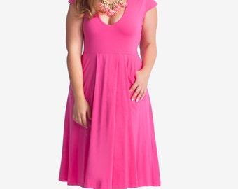 Plus size Fuchsia midi summer dress - casual midi hot pink  curvy sundress - plus size  sundress dress in Fuchsia - short sleeves midi dress