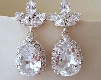Bridal earrings, Clear Chandelier earrings,Clear bridal earrings, Crystal earrings, Clear bridesmaid earrings, Drop earrings,Silver or gold
