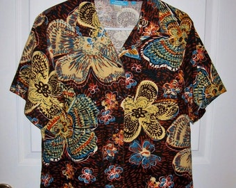Vintage Ladies Multi Color Floral Print Blouse by Cotton Connection Large Only 6 USD
