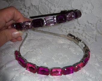 Vintage '80s Ladies Purple & Pink Rhinestone Headbands Hair Accessories Both for 9 USD
