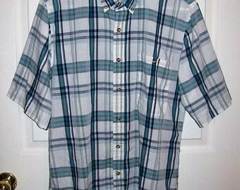 50 CENT SAlE Vintage Men's Blue & White Plaid Shirt by Saddlebrook Medium Now .50 USD