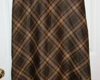 Vintage Ladies Brown Plaid Maxi Skirt by Easy Spirit Size 8 Only 7 USD