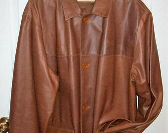 Vintage Men's Brown Leather Blazer Jacket Coat by Vera Pelle Large 24 USD