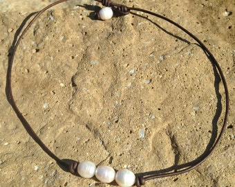 3 Freshwater Pearl and Leather Necklace