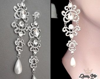 "Pearl earrings ~ Wedding earrings~  Long, chandelier earrings - Statement earrings - 5"" long - Brides earrings - Pageant - ANGELINA"