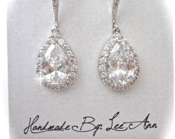 Cubic zirconia earrings, Brides earrings, Sterling wires, Teardrop wedding earrings, High quality and classic, Bridesmaids earrings, Gift