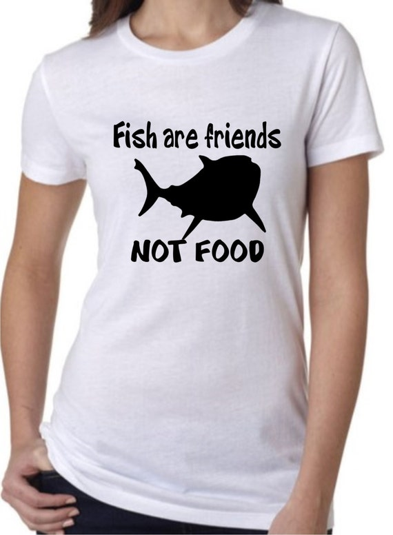 Ladies short sleeve t shirt custom disney fish are by for Fish are friends not food
