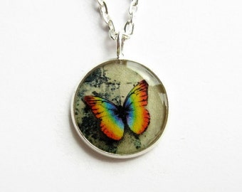 Small Rainbow Butterfly Necklace, Butterfly Picture Pendant, Jewellery Gift for Her, Resin Jewelry, 18mm Pendant