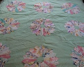 Vintage appliqued dresden plate quilt
