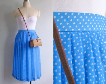 10-25% OFF Code In Shop - Vintage 80's Sky Blue Kitschy White Polka Dot Skirt XS