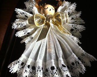 Angel,Handmade,Ivory Lace Edged Ornament