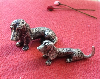 Pewter Dogs, Daschund or Basset  for Your Collection, Choice of Size