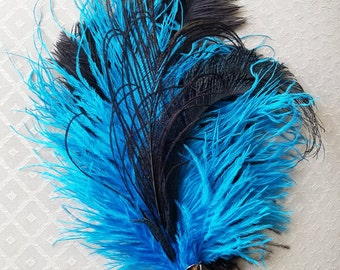 Turquoise Ostrich/Peacock Feather Hat Pin