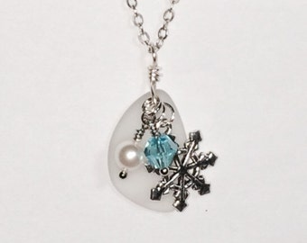 Sea Glass Snowflake Necklace Women's Gift For Her Necklace Bridesmaid Gift Mom Girlfriend Friend
