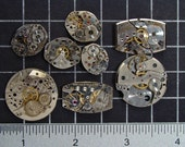 8 Vintage Watch Movements, Mixed Pocket Watch & Wristwatch Parts with Brass and Steel, Mixed Media, Industrial, Steampunk Art Supplies 04280