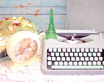 Vintage Typewriter - Manual and Portable Hermes Rocket - Gray and Mint Green - Swiss Made