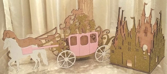 Pink gold princess wood castle horse carriage centerpiece