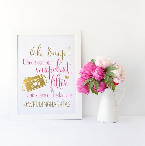 Spanish Wedding Hashtags: Snapchat Filter Wedding Sign Instagram Wedding Sign