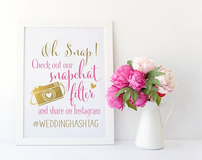 Snapchat Filter Wedding Sign | Instagram Wedding Sign | Wedding Sign PRINTABLE | Quick Turnaround DIY Print