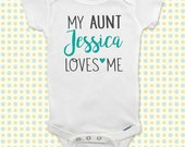 My Aunt or Uncle (Custom Name) des2 onesie or shirt - birth annnouncement surprise baby shower gift Infant Toddler Youth
