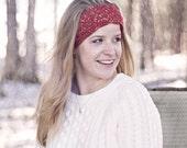 Crochet Ear Warmer Headband in Red, Winter White, or Purple, Gold Twist- Valentines Gift idea for Girlfriend