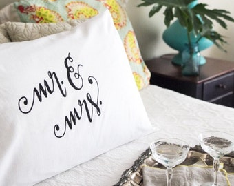 MRS & MRS PILLOWCASE / Bride Groom / Housewarming Gift / Wedding Gift