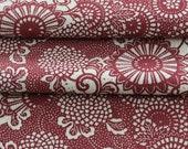 Vintage Kimono Silk, Kimono Fabric, Floral Silk, Japanese Kimono, Red and White Kimono