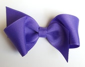 solid purple hair bow--perfect for baby toddler big girl-- bows clips hair accessories--3.5 inch back to school bows