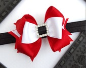Mini Santa baby christmas headband-fancy red black and white -large sparkle accessories for baby and toddler girls-3.5 inch with rhinestones