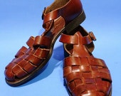 Vintage 90s Womens Brazil Brown Leather Sandals Size 7 Boho Hipster Cut Out Shoes Flats Summer Spring