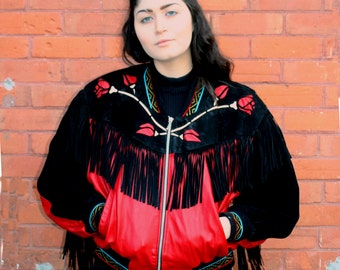 vintage Red Leather Fringed Jacket Roses Black and White late 80s 1990s Biker Rocker Jacket