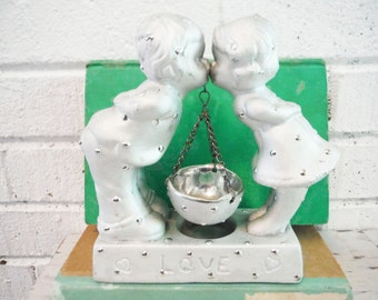 Vintage wedding cake topper large kissing unusual silver ceramic charming polka dots love retro shabby