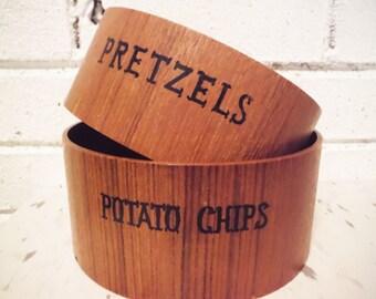 Snack bowls Danish Modern serving potato chips pretzels party display mod modern wood teak