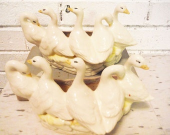 Pair of French pottery duck planters indoor gardening 1940's mid century vintage
