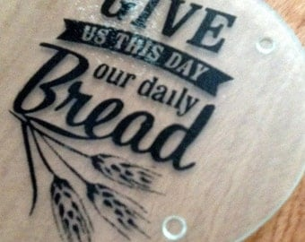 glass cutting board - daily bread design in vinyl